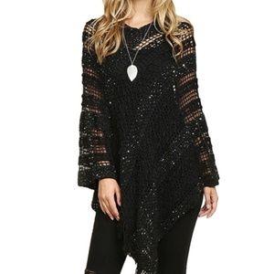 NWT! OS Black crochet poncho sweater with fringe